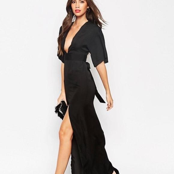 09e5c17f336 ASOS Petite Black Kimono Maxi Dress